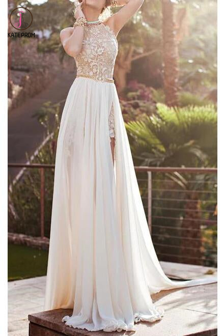 A-line Halter High Neck Lace Ivory Beach Wedding Dress,Prom Dresses KPW0021