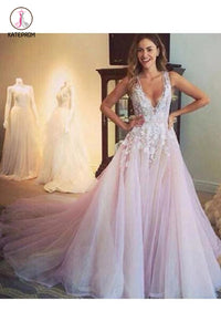 A-line V-neck Light Pink Flower Appliqued Tulle Wedding Dress KPW0020