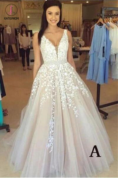 A-line V Neck Long Sexy Prom Dress,Lace Appliques Long Wedding Dresses KPW0018