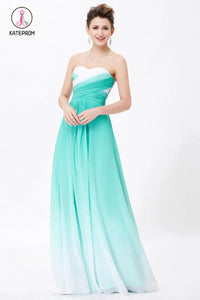 A-line Sweetheart Sleeveless Chiffon Ombre Bridesmaid Dress,Long Prom Gowns KPB0088