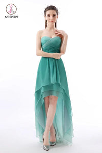 Unique Jade Ombre High-Low Sweetheart Chiffon Bridesmaid Dress with Pleats KPB0091