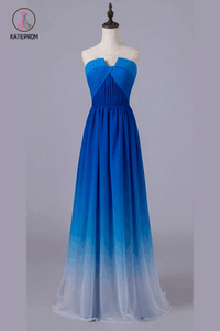 Royal Blue Gradient Ombre Notched Neck Long Chiffon Prom Dresses,Formal Dresses KPB0095