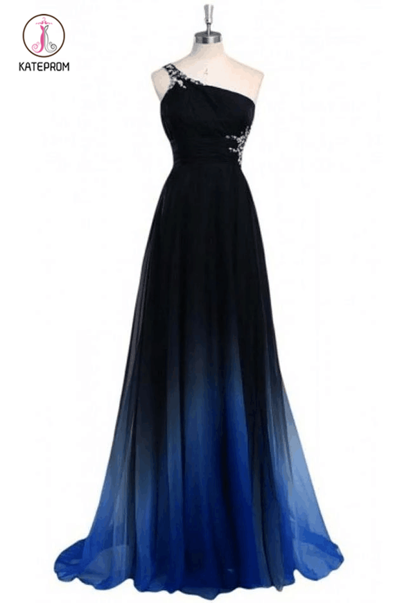 Ombre A Line One Shoulder Beading Chiffon Prom Dress,Gradient Formal Dress KPB0103
