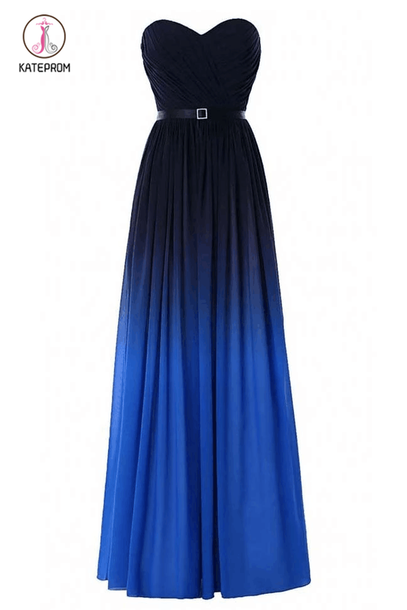 Blue Ombre Strapless Prom Dress with Belt,Gradient Chiffon Bridesmaid Dress KPB0107