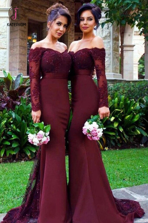 Mermaid Off-the-Shoulder Long Sleeves Bridesmaid/Prom Dress with Lace Appliques KPB0108
