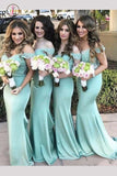 Modern Off the shoulder Mermaid Turquoise Long Bridesmaid Dress with Lace KPB0110