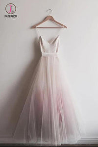 Chic Ombre Pink Spaghetti Straps V Neck A-line Tulle Long Prom Dress, Gradient Dress KPP0210