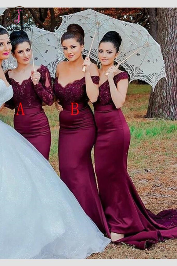 Burgundy Mermaid Long Sleeves Sweep Train Lace Bridesmaid Dress KPB0120