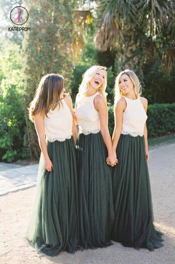 Two Piece Dark Green Lace Bodice Tulle Skirt A Line Custom Bridesmaid Dresses KPB0123