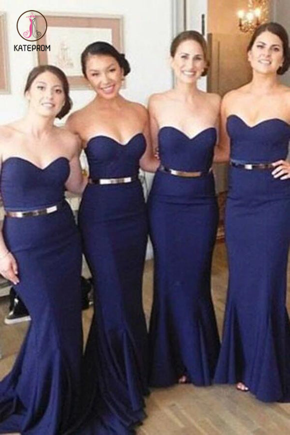 Long Dark Blue Sweetheart Bridesmaid Dress, Long Mermaid Strapless Prom Gown with Belt KPB0124