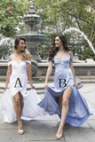Elegant Off the Shoulder Long Chiffon Bridesmaid Dress with Side Slit, Split Bridesmaid Dress KPB0128