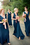 Unique V Neck Sleeveless Bridesmaid Dress, Modern Long Bridesmaid Dress with Pleats KPB0130