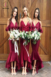 High Low Burgundy V Neck Bridesmaid Dress, Mermaid Spaghetti Strap Bridesmaid Dress KPB0137
