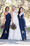 Floor Length Navy Blue Bridesmaid Dress, Mismatched Long Bridesmaid Dresses KPB0139