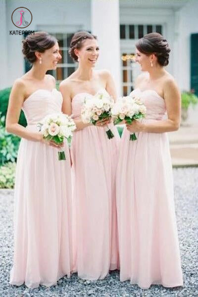 Simple Sweetheart Chiffon Pleats Pink Long Bridesmaid Dresses, Cheap Bridesmaid Gown KPB0146