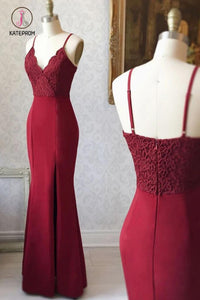 Burgundy Spaghetti Strap V Neck Mermaid Bridesmaid Dress, Long Prom Dress with Lace KPB0148