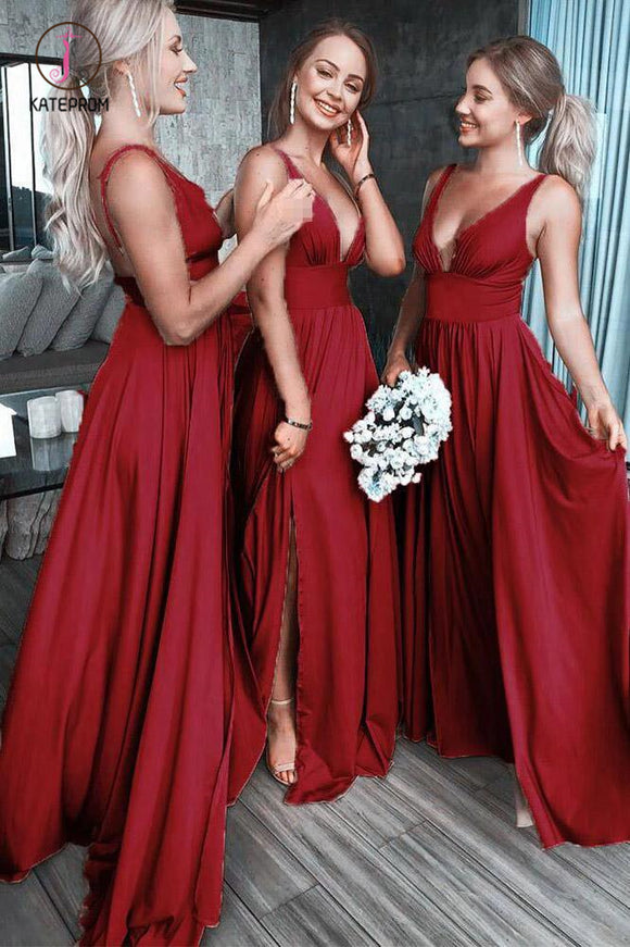 Burgundy Deep V Neck Split Bridesmaid Dress, A Line Sleeveless Backless Prom Gown KPB0149