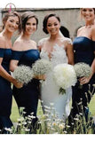 Elegant Navy Blue Off the Shoulder Mermaid Tea Length Bridesmaid Dresses with Ruffles KPB0161