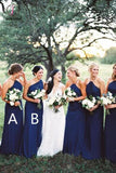 Royal Blue Long Chiffon Bridesmaid Dress, Simple A Line Sleeveless Bridesmaid Gown KPB0164