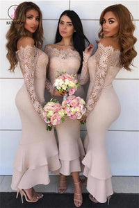 Long Sleeves Mermaid Sheath Lace Bridesmaid Dresses Chiffon Wedding Party Dresses KPB0167