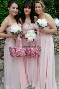 Pink Sweetheart Chiffon Bridesmaid Dress with Sparkles, Long Pleated Bridesmaid Dress KPB0170