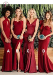 Sexy Mermaid Mismatched Red Satin Long Bridesmaid Dresses, Sheath Prom Dress KPB0171