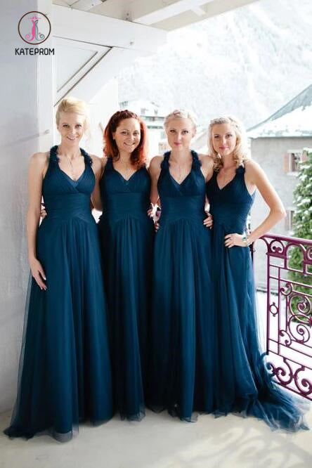 A-Line V-Neck Long Ruched Tulle Bridesmaid Dress, Cheap Halter Long Bridesmaid Dress KPB0173