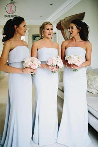 Silver Gray Strapless Cheap Long Bridesmaid Dresses with Bow, Backless Bridesmaid Dress KPB0177