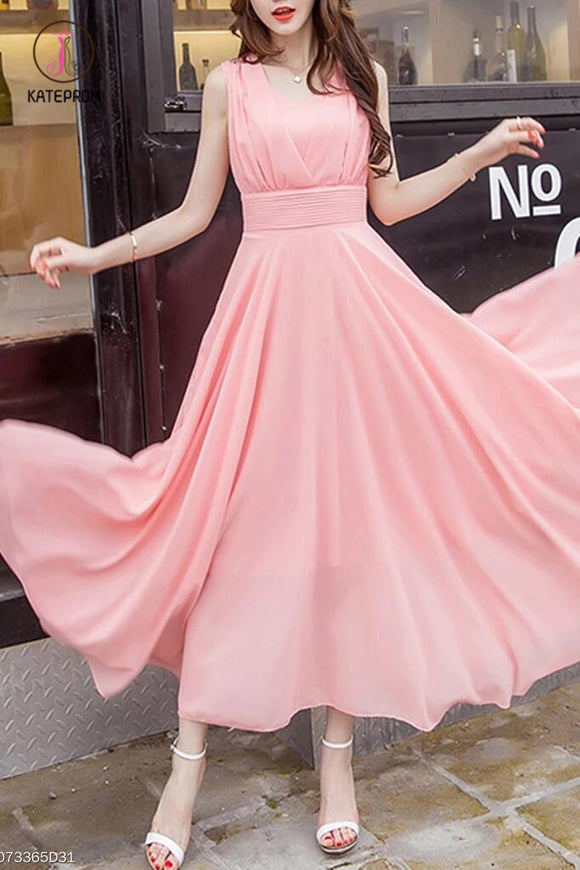 Peach Summer V-Neck Plain Chiffon Maxi Dress, Cheap Flowy Long Bridesmaid Dresses KPB0179