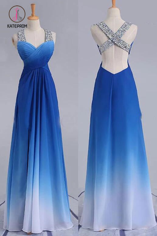 Elegant Beading Straps Cross Back Gradient Blue Ombre Prom Dress, Long Bridesmaid Dress KPB0180