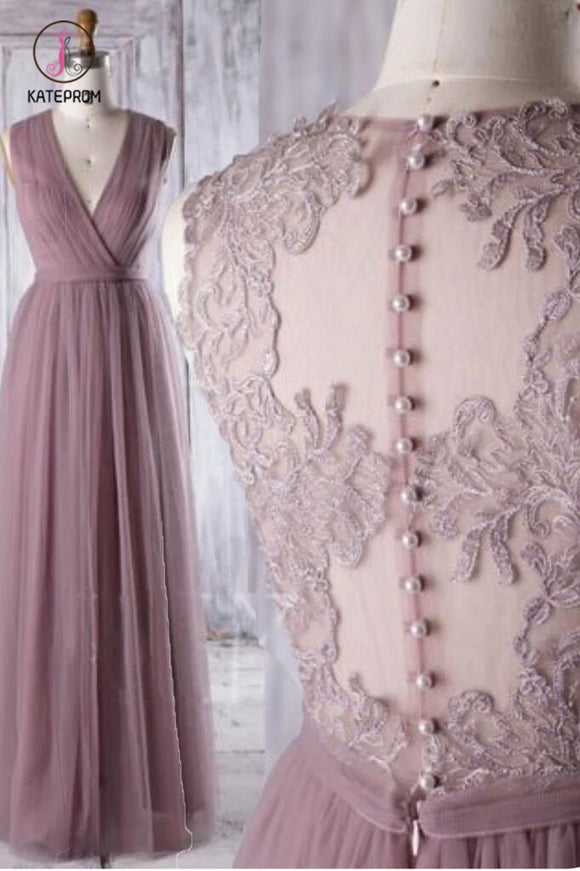 Dark Mauve Tulle Prom Dress Neck Maxi Dress A-Line Party Dress Illusion Evening Dress KPB0181