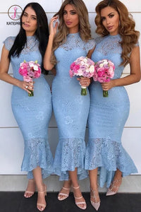 Sexy Mermaid Cap Sleeves Lace Bridesmaid Dresses, Tight Lace Formal Dresses KPB0182