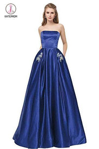 Royal Blue Strapless Bridesmaid Dress with Pockets, A Line Satin Prom Dress with Beads KPB0185