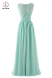 Mint Green V Neck Long Bridesmaid Dress with Lace, Simple Pleated Long Bridesmaid Dress KPB0186