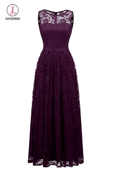Purple Sleeveless Lace Bridesmaid Dresses, Floor Length Lace Prom Dresses KPB0187