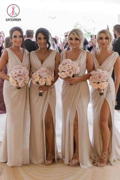 Simple V Neck Sleeveless Sheath Cheap Pleated Long Bridesmaid Dresses with Slit KPB0188