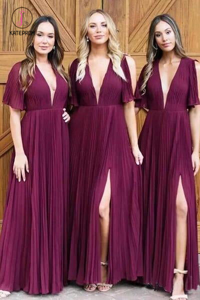 Simple Deep V Neck Short Sleeve Side Slit Long Bridesmaid Dresses with Pleats KPB0189
