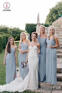 Flowy Long one Shoulder Cheap Dusty Blue Chiffon Bridesmaid Dresses with Slit KPB0190
