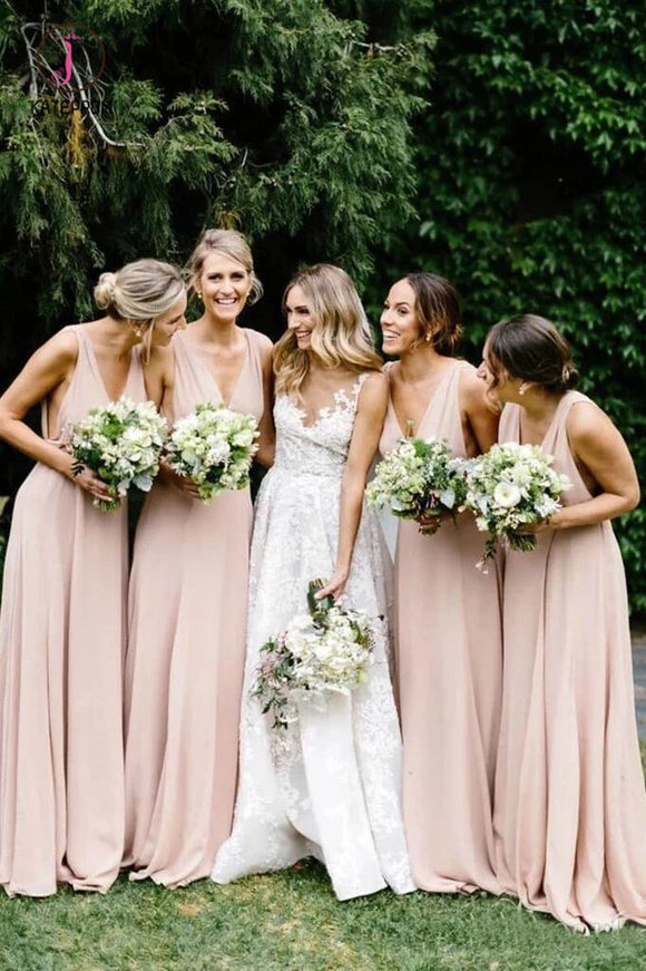 Simple V Neck Light Pink Bridesmaid Dresses Cheap Long Chiffon Maxi Dress KPB0191