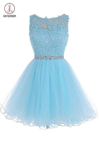 Scoop Short Blue Zipper-up Tulle Prom Dresses Homecoming Dresses KPH0128