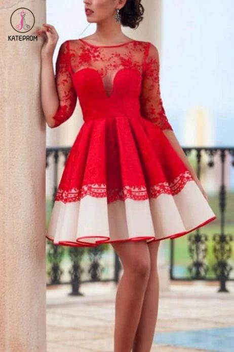 Half Sleeve Red Homecoming dresses,See-through Short Lace Homecoming Gowns KPH0153