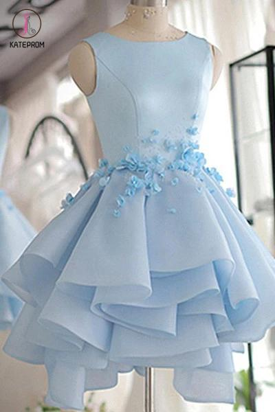 Sky Blue Homecoming Dress,A-line Satin Organza Short Flowers Original Prom Dresses,Mini Dress KPH0144
