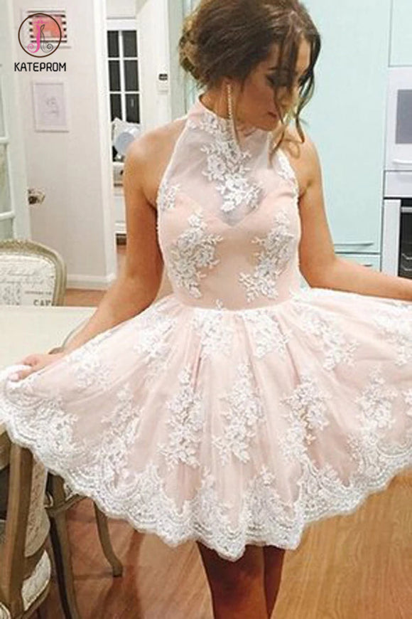 Elegant High Neck Homecoming Dress with White Lace,Sweet 16 Dress,Graduation Dress KPH0138