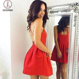 Sexy Red Backless Homecoming Dresses,Short Prom Dresses,Graduation Dress for Girls KPH0158