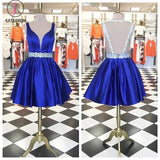Cute Short Prom Dress Homecoming Dress,Royal Blue Beading Sleeveless Homecoming Dress KPH0157