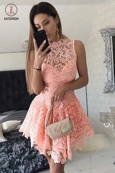 A-Line Short Dropped Pink Homecoming Dress,Mini Sleeveless Lace Cocktail Dress KPH0141