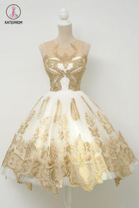 Junior Popular Gold Applique Short Tulle Homecoming Dresses,A-line Short Prom Dresses KPH0169