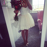 Mini Strapless Dresses,Cute A-Line Sweetheart Ivory Short Homecoming/Cocktail Dress KPH0171