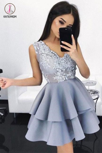 New Arrival A-Line Sleeveless V-Neck Short Homecoming/Prom Dress with Appliques KPH0178