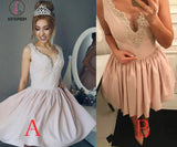 A-Line V-Neck Ruched Short Pearl Pink Satin Homecoming Dress with Beading,Mini Prom Dress KPH0179